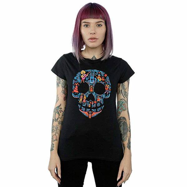リメンバー・ミー 大人用 女性 Tシャツ ディズニー ピクサー Coco ブラック スカル 通常便は送料無料