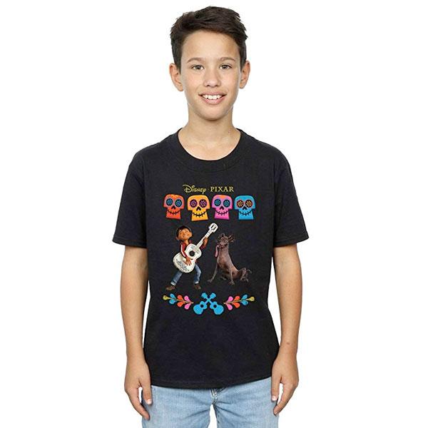 リメンバー・ミー 子供用 Tシャツ ミゲル ダンテ ギター ディズニー ピクサー Coco カラフル ブラック 通常便は送料無料