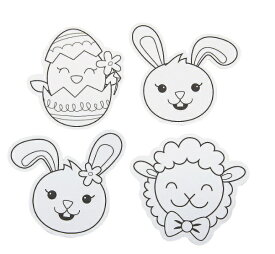 イースターエッグ うさぎ ひよこ ひつじ ぬり絵 バッジ 手作り クラフトセット エッグハント 復活祭(12個セット)