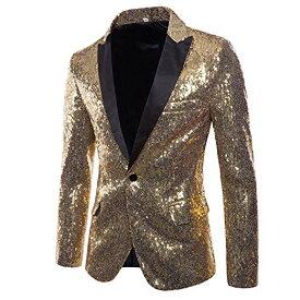 メンズ 派手 な ジャケット きらきら ゴールド 金 目立つ スパンコール 結婚式 ステージ マジシャン 手品 衣装