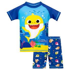 ベイビーシャーク 子供用 水着セットラッシュガード ショーツ 水着 男の子 ブルー Pinkfong サメ Baby Shark 通常便は送料無料
