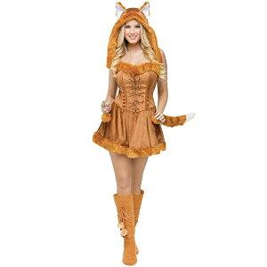 キツネ コスプレ 大人用 コスチューム ドレス 衣装 仮装 ハロウィン 動物 可愛い アニマル 通常便は送料無料