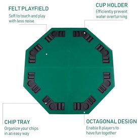ポーカー カジノ ゲーム テーブル カップホルダー キャリングケース 8プレーヤー ファミリーゲーム カジノ用 オクタゴンテキサスホールデムポーカーマット 通常便は送料無料