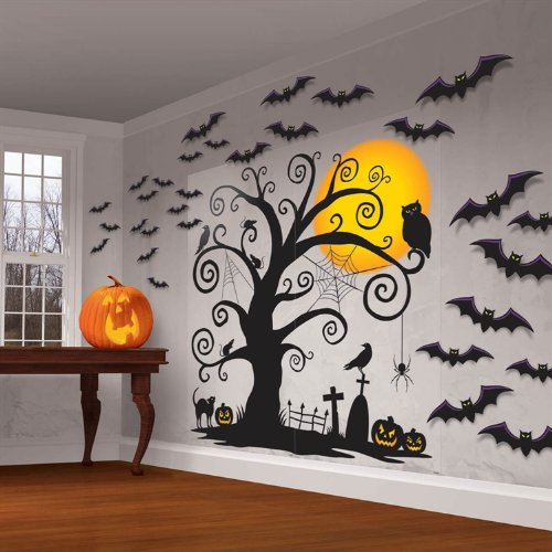 ハロウィン 装飾 飾り デコレーション ウォールステッカー 壁紙 こうもり かぼちゃ 木 お化け屋敷 肝試し あす楽