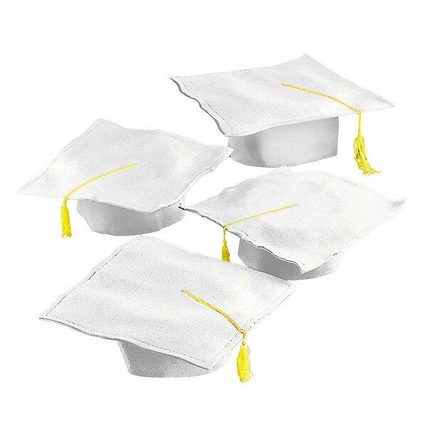 卒業式 スーツ セレモニー 帽子 角帽 白 12セット 卒業 グラデュエーション タッセル付き ホワイト 記念 劇 発表会