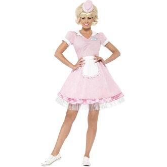 50 ' s 피 프 티 스 디너 레스토랑 웨이트리스 유니폼 식사 하는 여자 분홍 드레스 복고풍 빈티지 할로윈 코스 프레 의상 의상 상품