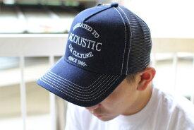 ACOUSTIC(アコースティック)EMBROIDERY INDIGO MESH CAP(刺繍インディゴ メッシュキャップ)【デニム 白糸刺繍 メッシュキャップ】男女兼用キャップ2種類のフロント刺繍 2019年最新作