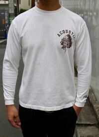 ACOUSTIC(アコースティック)ACOUSTIC/INDIAN L/S TEE(頑丈なロングTシャツ)【絶対に首の伸びない丈夫なロングTシャツ】【頑丈ロングTシャツ 2019~2020年最新作】【2色展開(OFF WHITE,BLACK)】ユニセックス 大きなサイズあり 送料無料