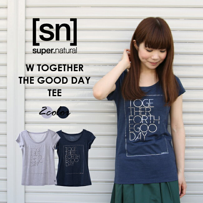 【[sn]super.natural/エスエヌ/スーパーナチュラル】/レディース/W TOGETHER FOR THE GOOD DAY TEE/トップス/TEEシャツ/カットソー/半袖/プリント/グレー/ネイビー/SNW171003【sn1703】
