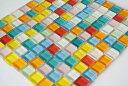【送料無料】ガラスモザイクタイル ばら 10mm 角 9色 カラフル マルチカラー ミックス (1kg) バラ売り 工作 ハンドメ…