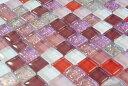 モザイク ガラス タイル ばら 10mm角 ピンク パープル 系 ラメ カラー ミックス (1kg) 工作 ハンドメイド DIY クラフ…