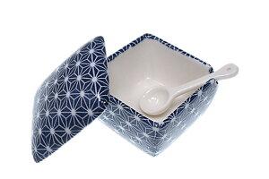 送料無料! 青色麻葉 薬味入 日本製 陶器 スプーン付き 一味 塩 山椒 七味 辛子 業務用食器 ACSWEBSHOPオリジナル