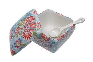 送料無料! 京雅 青 薬味入 日本製 陶器 スプーン付き 一味 塩 山椒 七味 辛子 業務用食器 ACSWEBSHOPオリジナル