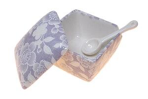 送料無料! 桜友禅(紫) 薬味入 日本製 陶器 スプーン付き 一味 塩 山椒 七味 うどん そば 豆板醤 辛子 業務用食器 ACSWEBSHOPオリジナル