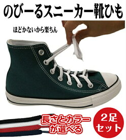 【送料無料】のびるスニーカーゴム靴ひも 2足セット靴紐 靴ヒモ シューレース 【ゆうパケット15】