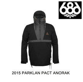 2015 686 シックスエイトシックス ジャケット PARKLAN PACT ANORAK BLACK HERRINGBONE DENIM COLORBLOCK