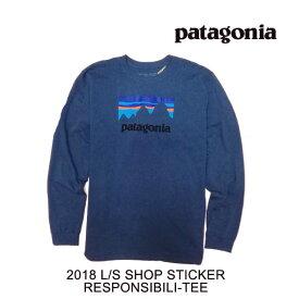 2018 PATAGONIA パタゴニア Tシャツ LONG-SLEEVED SHOP STICKER RESPONSIBILI-TEE DLMB DOLOMITE BLUE