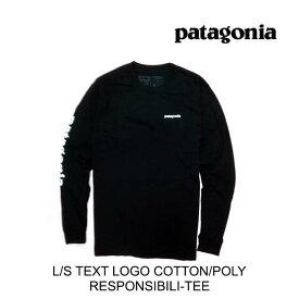 PATAGONIA パタゴニア Tシャツ LONG-SLEEVED TEXT LOGO COTTON/POLY RESPONSIBILI-TEE BLK BLACK