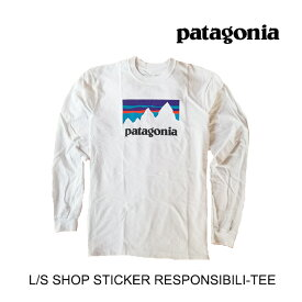 PATAGONIA パタゴニア Tシャツ LONG-SLEEVED SHOP STICKER RESPONSIBILI-TEE WHI WHITE