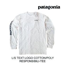 PATAGONIA パタゴニア Tシャツ LONG-SLEEVED TEXT LOGO COTTON/POLY RESPONSIBILI-TEE WHST WHITE W/STONE BLUE