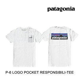 PATAGONIA パタゴニア P-6 ロゴ ポケット レスポンシビリティー メンズ Tシャツ P-6 LOGO POCKET RESPONSIBILI-TEE WHI WHITE 38512