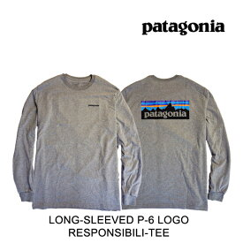 PATAGONIA パタゴニア ロングスリーブ P-6 ロゴ レスポンシビリティー メンズ Tシャツ LONG-SLEEVED P-6 LOGO RESPONSIBILI-TEE GLH GRAVEL HEATHER 38518 長袖