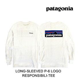 PATAGONIA パタゴニア ロングスリーブ P-6 ロゴ レスポンシビリティー メンズ Tシャツ LONG-SLEEVED P-6 LOGO RESPONSIBILI-TEE WHI WHITE 38518 長袖 L/S TEE