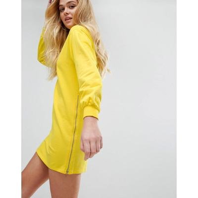 エイソス ワンピース ASOS Oversized Sweat Dress with Zip Detail Canary yellow