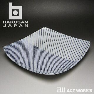 白山陶器重ね縞反角多用皿21cm