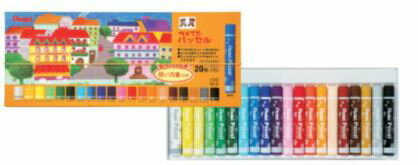 【ぺんてる】固型パス パッセル (クリアラベル巻きパス) 20色セット