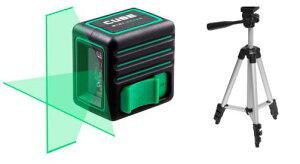 グリーン レーザー墨出し器 キューブミニ 1V1H プロ エレベーター三脚付き 受光器(別売りLR60G)対応 レーザーレベル オートラインレーザー レーザーライン 墨出しレーザー 測量 建築 墨出し