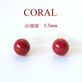 赤 珊瑚 ピアス 丸玉 5.5mm K18 日本産 サンゴ【送料無料】【代引き手数料無料】