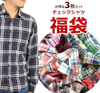 福袋★チェックシャツ3点入り/長袖(チェックシャツウエスタンシャツ長袖シャツアメカジチェックシャツチェック柄メンズシャツ男性)MEN'SCHECKSHIRTM-XL(LL)10P20Nov15