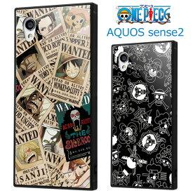 AQUOS sense2 ワンピース 耐衝撃 ガラス ケース ハイブリッド ガラス ソフト ハードケース キャラクター グッズ ONE PIECE ルフィ チョッパー ゾロ ナミ ロビン サンジ aquossense2 アクオス センズ 2 SH-01L SHV43 SH-M08 専用 スマホカバー スマホケース s-in_7b138