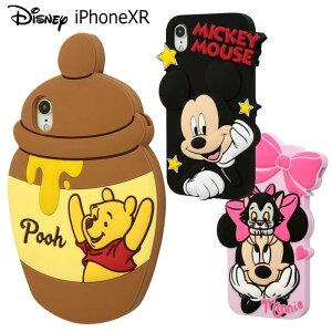 送料無料 iPhoneXR ディズニー シリコンケース ケース カバー ソフト ソフトケース シリコン ゴム キャラクター グッズ かわいい シンプル ミッキー ミニー くまのプーさん プー アイフォン テ