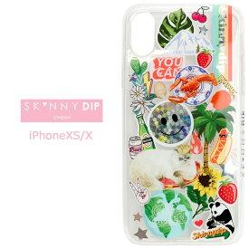 iPhoneXS iPhoneX SKINNYDIP 90's ステッカー ホログラム クリア ケース カバー スキニーディップ TPU ソフト ソフトケース クリアケース シンプル かわいい 夏柄 ハワイ ヤシの木 iphone xs x アイフォン テンエス iphonexsケース スマホカバー スマホケース s-se-7d800