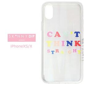 iPhoneXS iPhoneX SKINNYDIP Can't Think Straight ホログラム クリア ケース カバー スキニーディップ TPU ソフト ソフトケース クリアケース シンプル かわいい 夏柄 iphone xs x アイフォン テンエス iphonexsケース スマホカバー スマホケース s-se-7d804