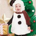 ベビー マシュマロ スノーマン もこもこ あったか ロンパース ロンパス 赤ちゃん 着ぐるみ 子供服 きぐるみ フード付…