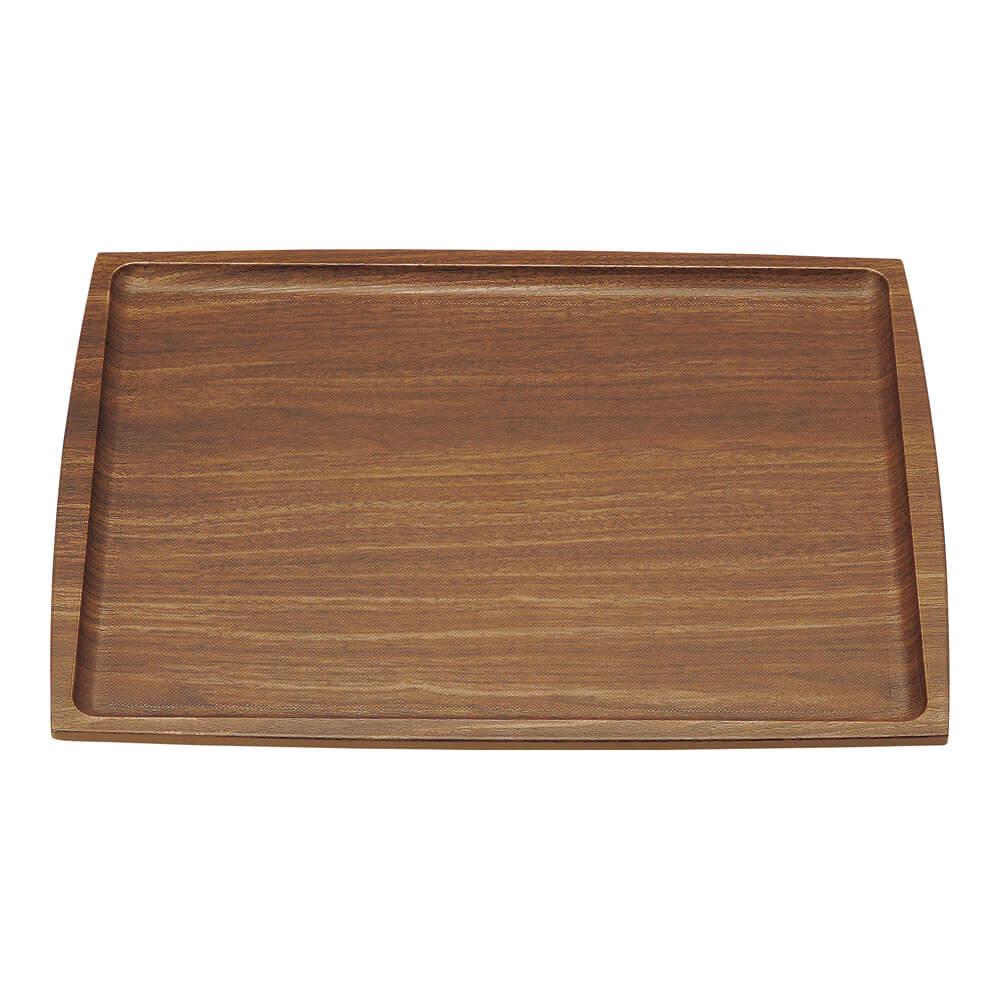 木目調トレー ABSノンスリップ長角盆 [ 濃木目 ] M44-358 お盆 トレイ 滑りにくい 食器洗浄機対応