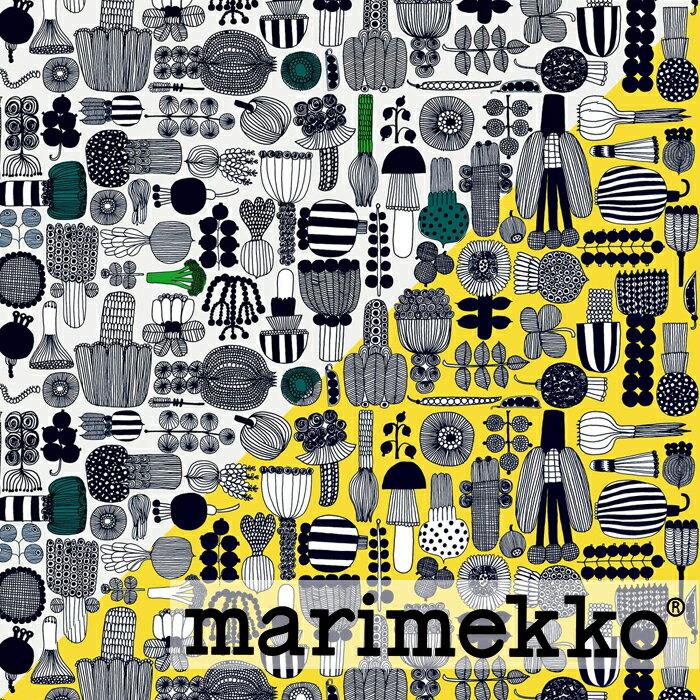《 1.5mまで メール便 送料無料 》 マリメッコ MARIMEKKO 生地 プータルフリン パルハート PUUTARHURIN PARHAAT 【ブラック・イエロー】 選べる2色 (30cm以上〜10cm単位で切り売り)【 アドキッチン 】
