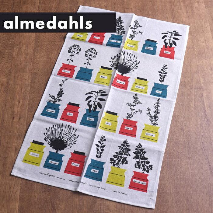 [ 3点までメール便可 ] アルメダールス ( almedahls ) キッチンタオル ( 70210 ) < ハーブポット レッド×ライム > 【 スウェーデン 北欧雑貨 】[ アドキッチン ]
