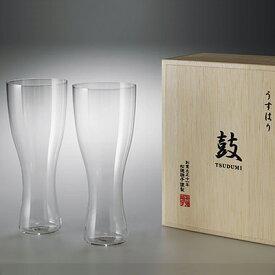 松徳硝子 うすはり 鼓 ビールグラス (木箱入り) 2個セット 【 グラス コップ ビールグラス ギフト ピルスナー 】(2941020)