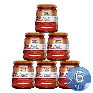 【箱入りセットでお買い得】Sacla サクラ社 南イタリア産プラムトマトのアル・フォルノ&ペペロンチーノ・オイル漬け 285g<6本セット>【キャンセル・返品・交換不可】