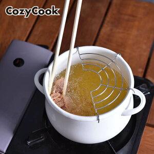 コージークック ホーロー ミニ天ぷら鍋 16cm ( ホワイト ) IH対応 琺瑯 ほうろう お弁当 弁当 ちょっと 揚げ 揚げ物 フライ おかず 天ぷら 天ぷら鍋