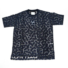 No:DST-B-2126-DB | Name:See-Through Leopard Pattern Jacquard T-Shirt | Color:Blue | Size-L【DYCTEAM】【2021SS】【MEN'S メンズ】【LADY'S レディース】【ユニセックス】【202103】