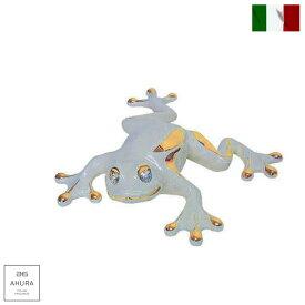 イタリア製 置物 動物 蛙 陶器 24金メッキ スワロフスキー