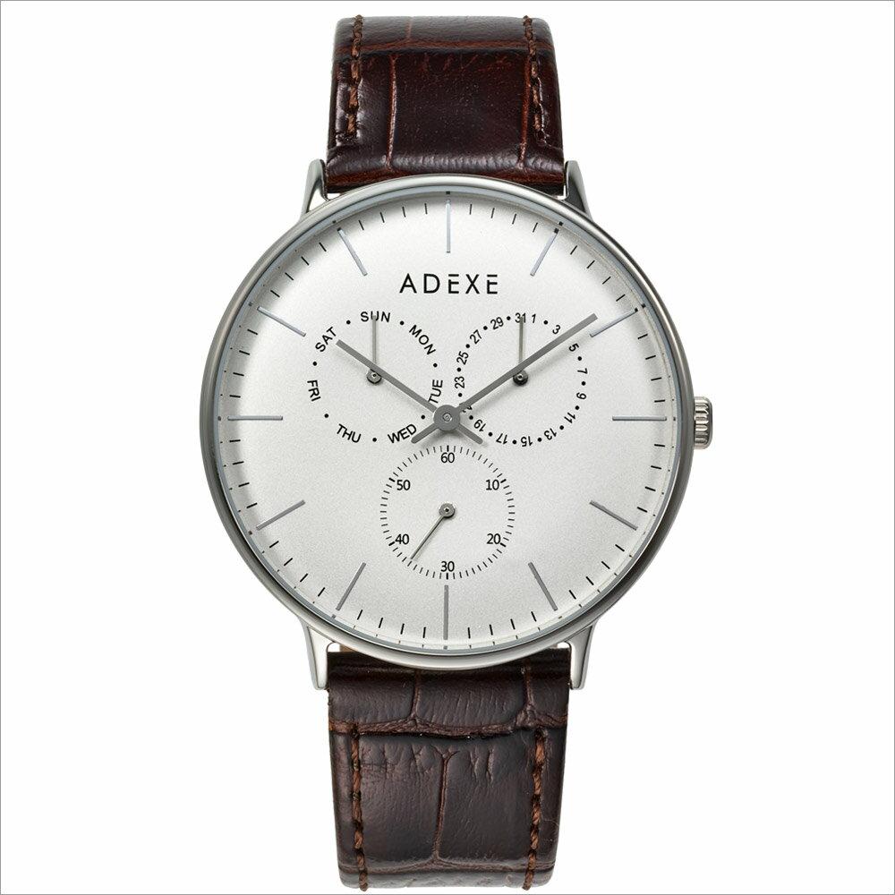 ADEXE (アデクス) 1884B-05 ユニセックス 腕時計 GRANDE (グランデ) 41mm シルバー ホワイト ブラウン ギフト インスタ映えマスト! ADEXE (アデクス)
