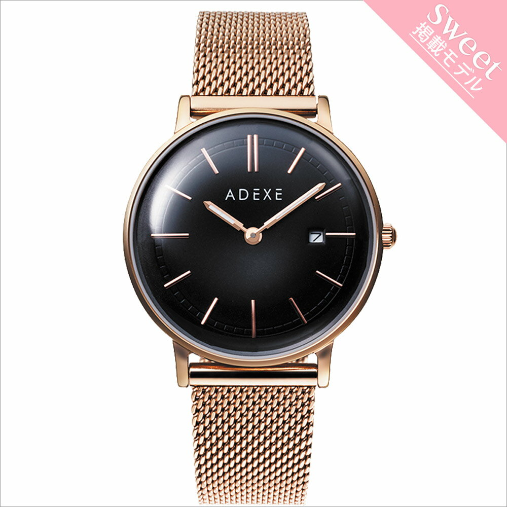 ADEXE (アデクス) 2043A-05 ユニセックス 腕時計 PETITE (プチ) 33mm ローズゴールド ブラック メッシュ ギフト インスタ映えマスト!sweet10月号掲載モデル ADEXE (アデクス)