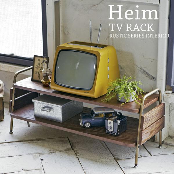 【送料無料】【代引可】TVラック Heim(ハイム) 幅93×奥行き35×高さ37cm 天然木化粧繊維板 スチール アジャスター付 ブラウン tv-r930