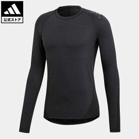 【公式】アディダス adidas 返品可 ジム・トレーニング ALPHASKIN TEAM ロングスリーブTシャツ メンズ ウェア・服 トップス Tシャツ 黒 ブラック CF7267 ロンt
